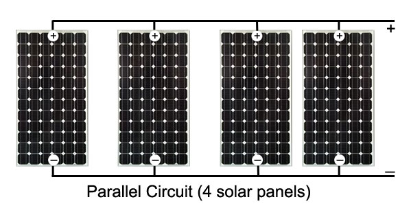 solar power panels or cells in parallel circuitsparallel circuit with 4 solar panels